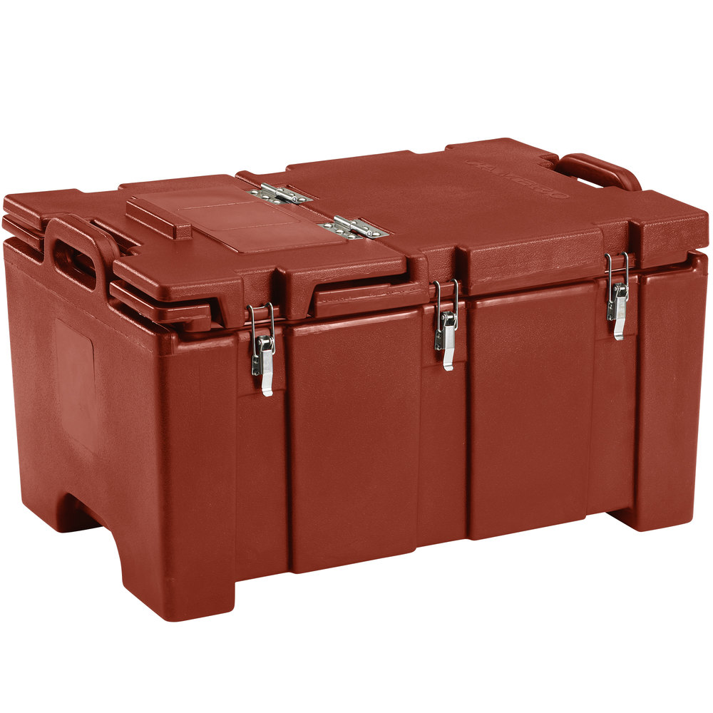 "Cambro 100MPCHL402 Camcarrier Red Brown Top loading Pan Carrier with Hinged Lid for 12"" x 20"" Food Pans"
