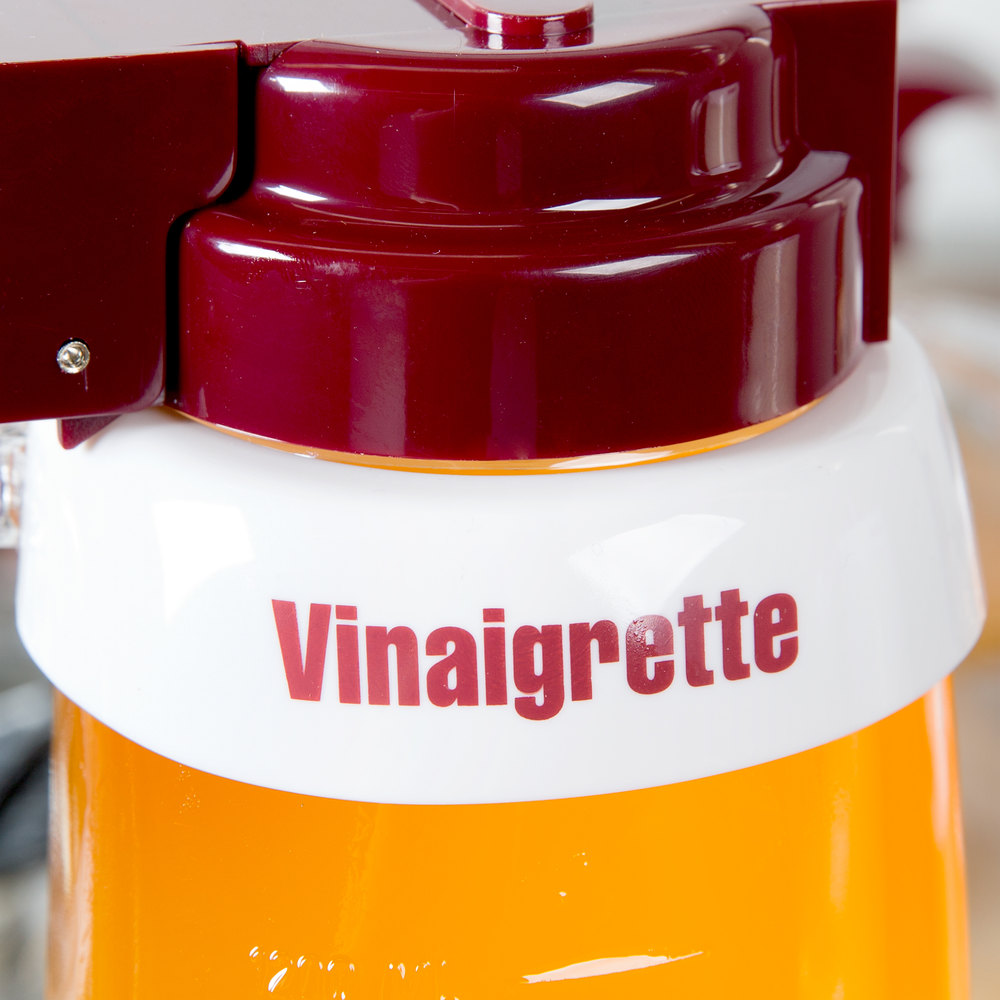 "Tablecraft CM9 Imprinted White Plastic ""Vinaigrette"" Salad Dressing Dispenser Collar with Maroon Lettering"