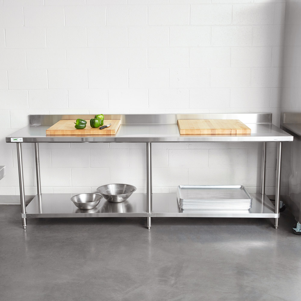 regency 30 x 96 16 gauge stainless steel commercial work table with 4 backsplash and undershelf