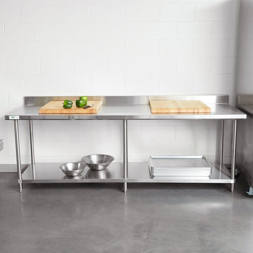 "Regency 30"" x 96"" 16-Gauge Stainless Steel Commercial Work Table with 4"" Backsplash and Undershelf"