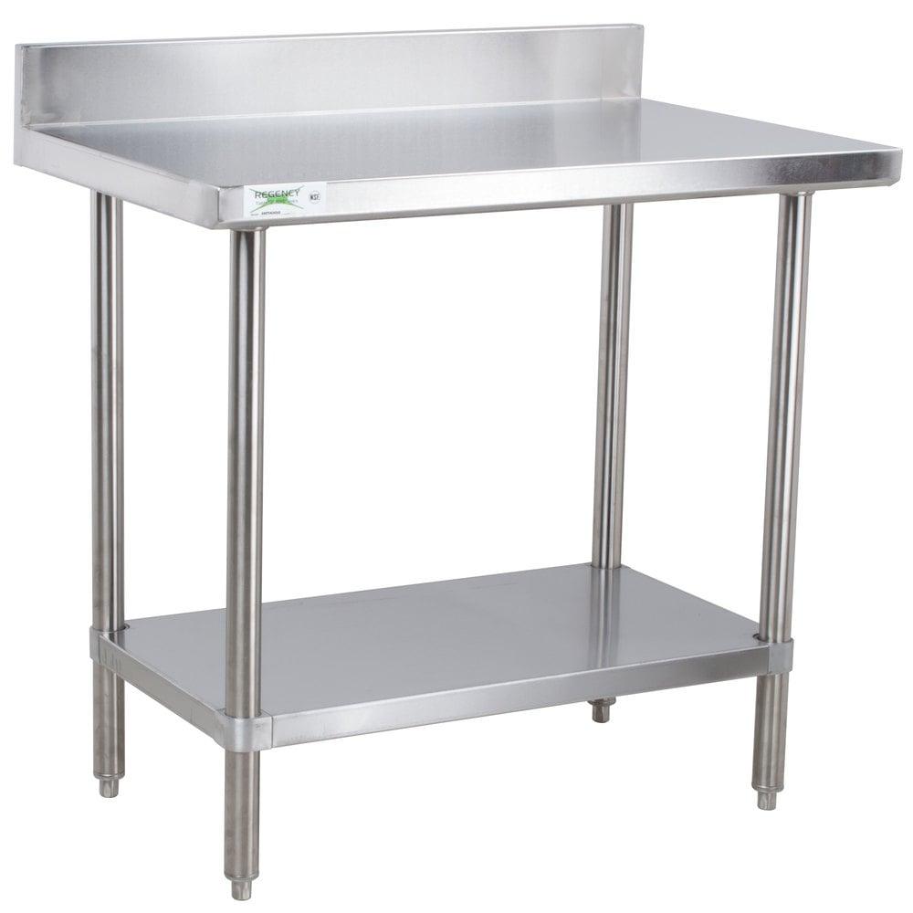 regency 30 x 36 16 gauge stainless steel commercial work table with 4 - Stainless Steel Work Table With Backsplash