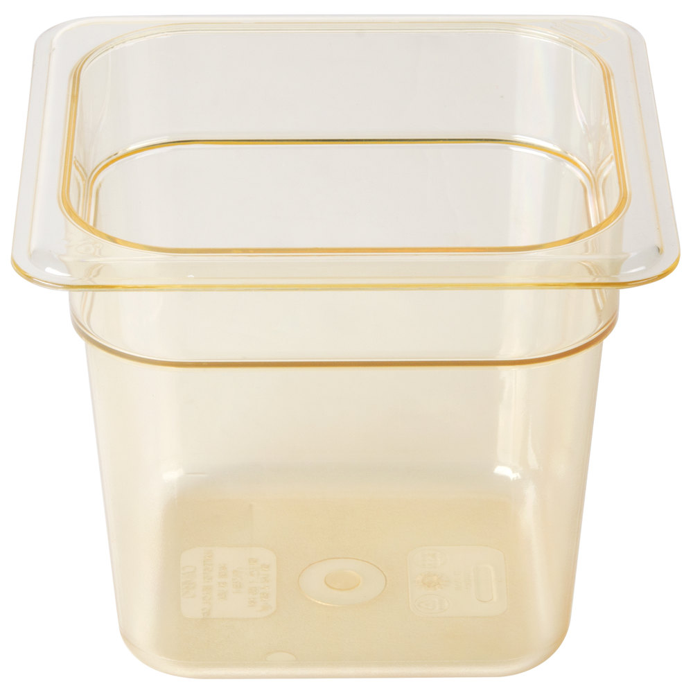 "Cambro 66HP150 H-Pan 1/6 Size Amber High Heat Food Pan - 6"" Deep"