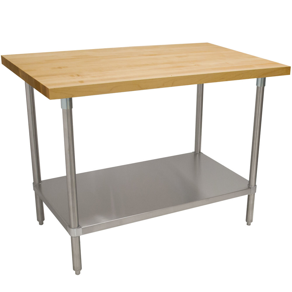 "Advance Tabco H2S-243 Wood Top Work Table with Stainless Steel Base and Undershelf - 24"" x 36"""