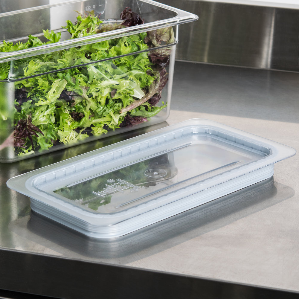 Cambro 30CWGL135 Camwear 1/3 Size Clear Polycarbonate GripLid