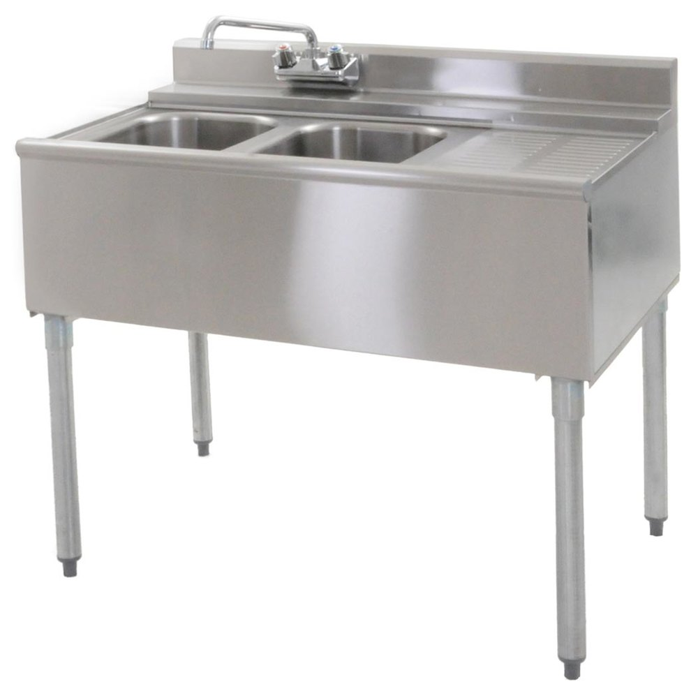 "Eagle Group B3R-2-22 36"" Underbar Sink with Two Compartments and Right Drainboard"