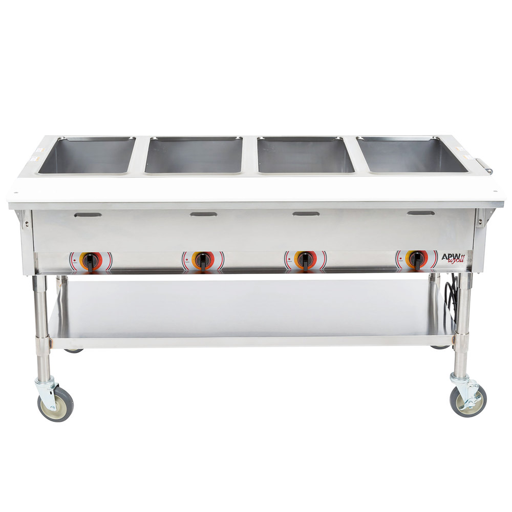 Apw Wyott Pst 4s Four Pan Exposed Portable Steam Table