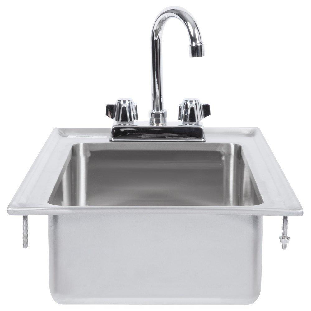 "Regency 10"" x 14"" x 5"" 16-Gauge Stainless Steel One Compartment Drop-In Sink with 8"" Gooseneck Faucet"