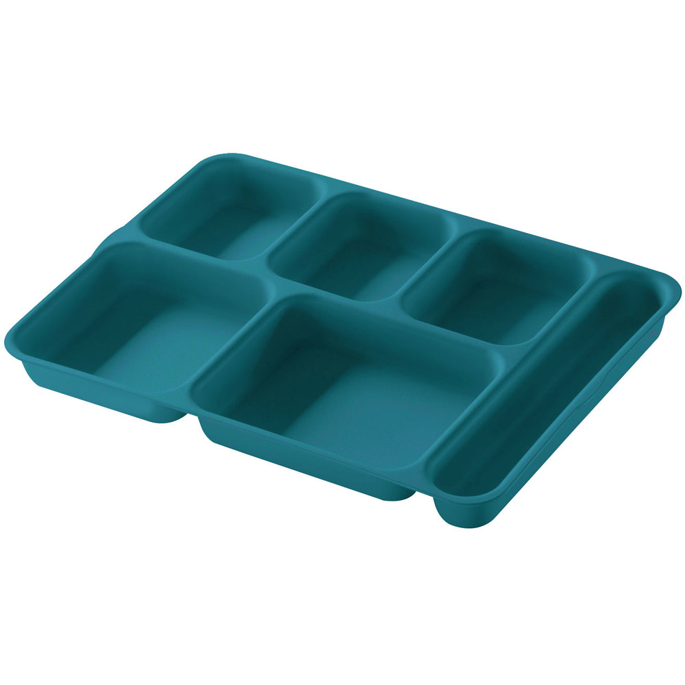 cambro 10146dcp414 teal 6 compartment serving tray