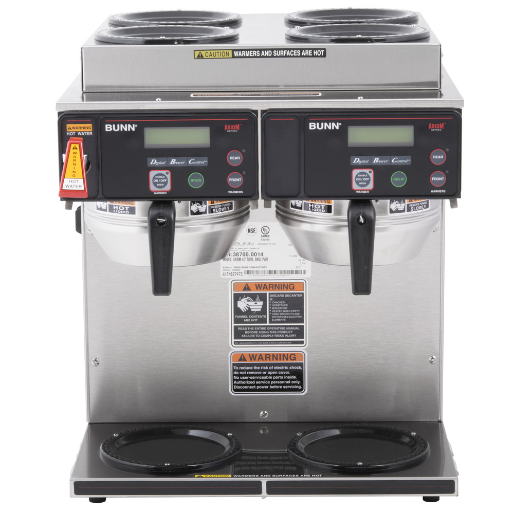 Bunn 387000014 Axiom 4 2 Twin 12 Cup Automatic Coffee Brewer With Maker Wiring Diagram Upper And Lower Warmers 120 208 240v
