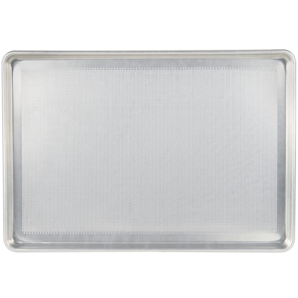 "Chicago Metallic 44890 Perforated Full Size 18 Gauge Aluminum Sheet Pan - Wire in Rim, 18"" x 26"""