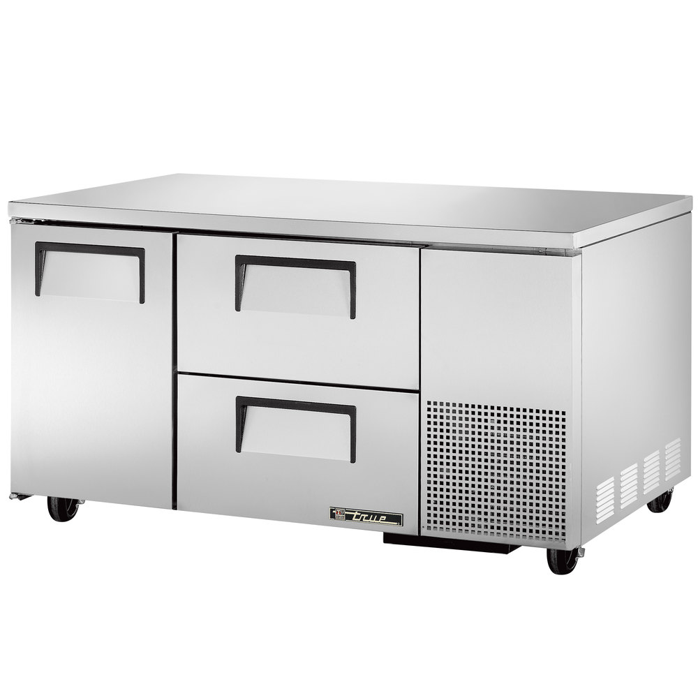 "True TUC-60-32D-2 60"" Extra Deep Undercounter Refrigerator with One Door and Two Drawers"