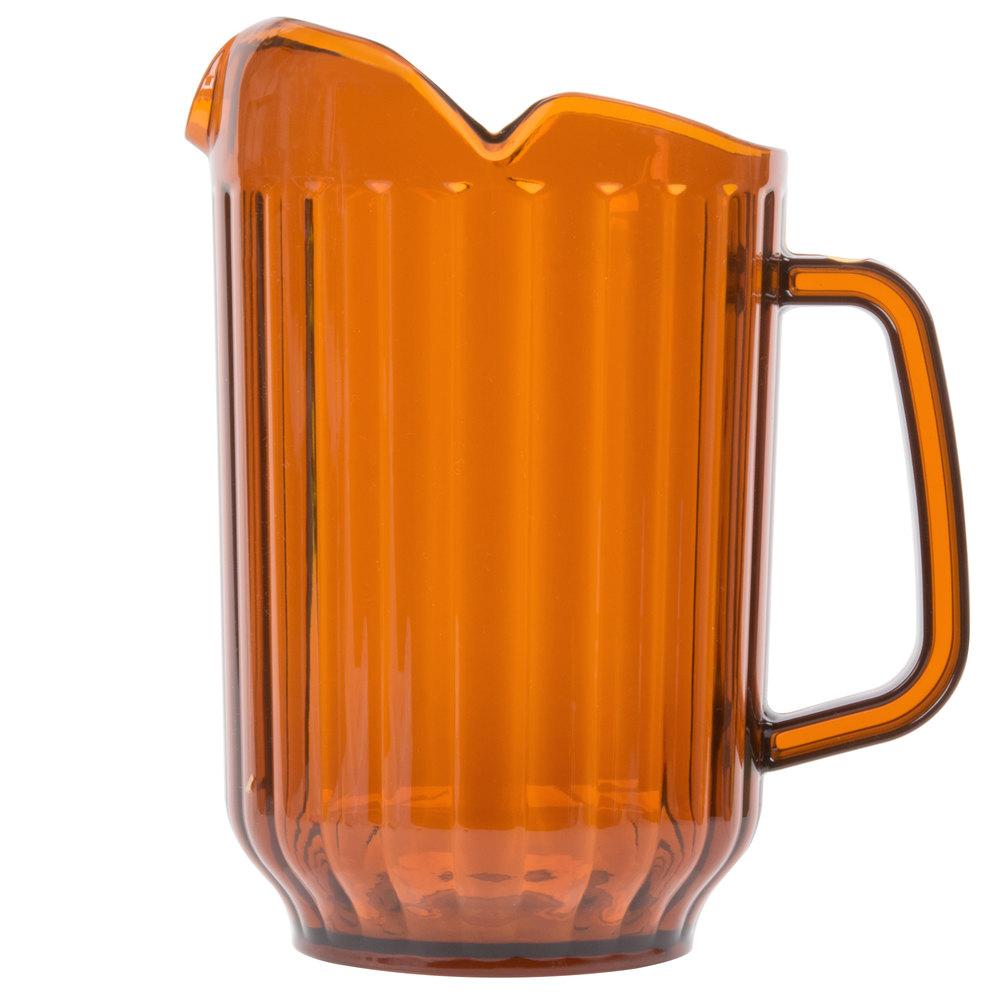 choice 60 oz amber san plastic beverage pitcher with 3 spouts. Black Bedroom Furniture Sets. Home Design Ideas