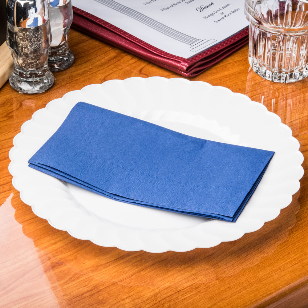 "Hoffmaster 180522 Navy Blue 15"" x 17"" Paper Dinner Napkins 2-Ply - 125 / Pack"