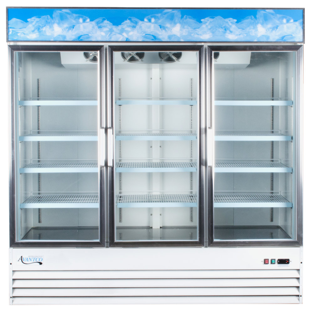 "Avantco GDC69 79"" White Three Section Swing Glass Door Merchandising Refrigerator with LED Lighting - 69 cu. ft."