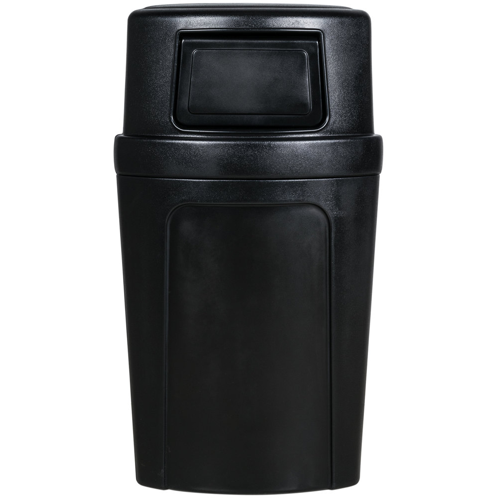 Continental 8325BK Corner'Round 21 Gallon Black Corner Trash Can with Dome Lid