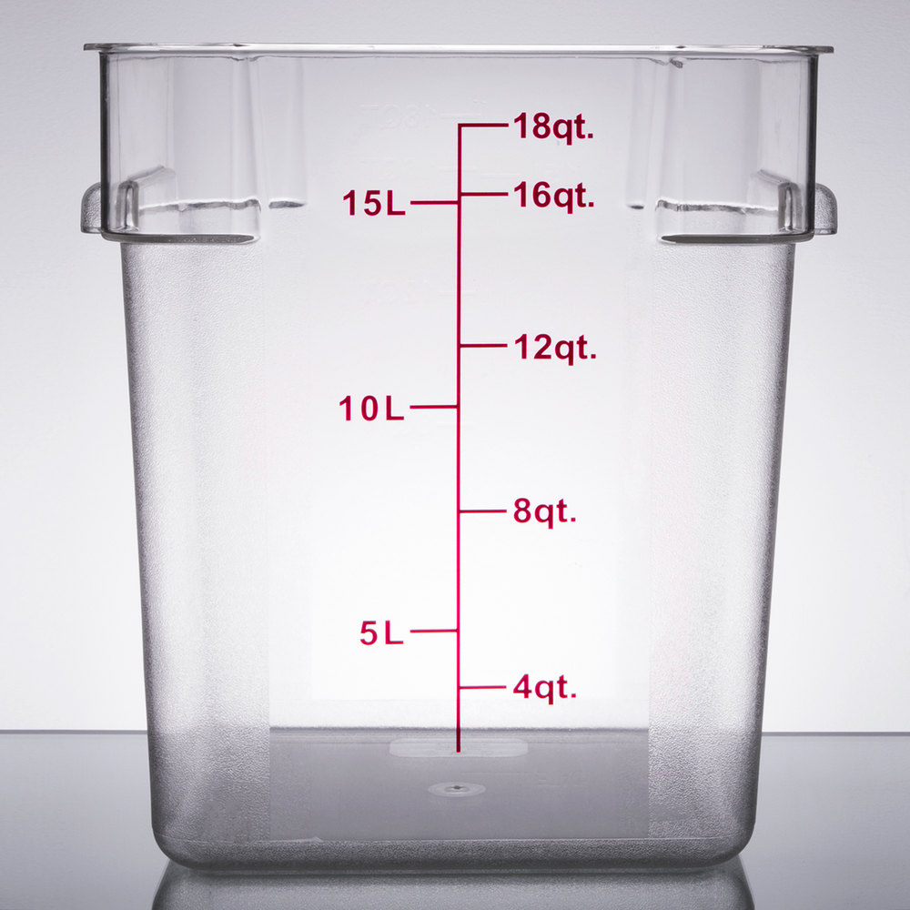 18 Qt Clear Square Polycarbonate Food Storage Container