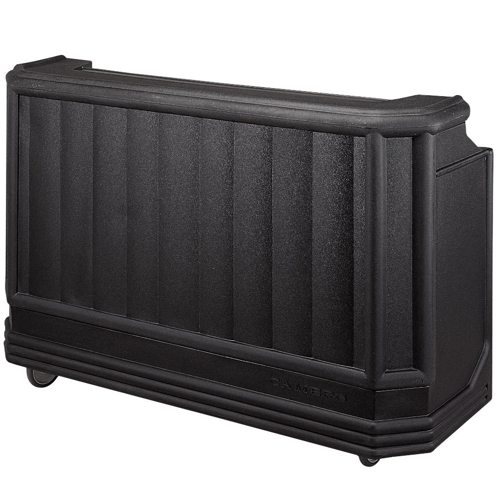 "Cambro BAR730DX110 Black Deluxe Cambar 73"" Portable Bar with 7 Bottle Speed Rail, Cold Plate, and Soda Gun"