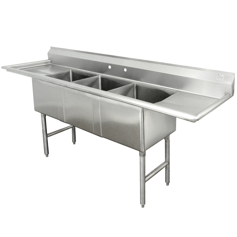 Advance Tabco FC-3-1824-24RL Three Compartment Stainless Steel Commercial Sink with Two Drainboards - 102""