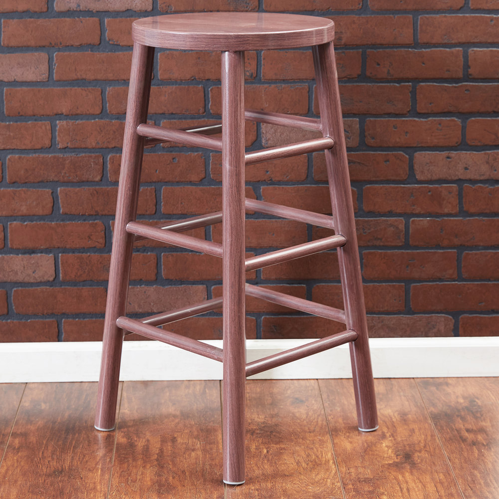 "Lancaster Table & Seating Spartan Series 30"" Metal Woodgrain Barstool with Wine Color Finish"