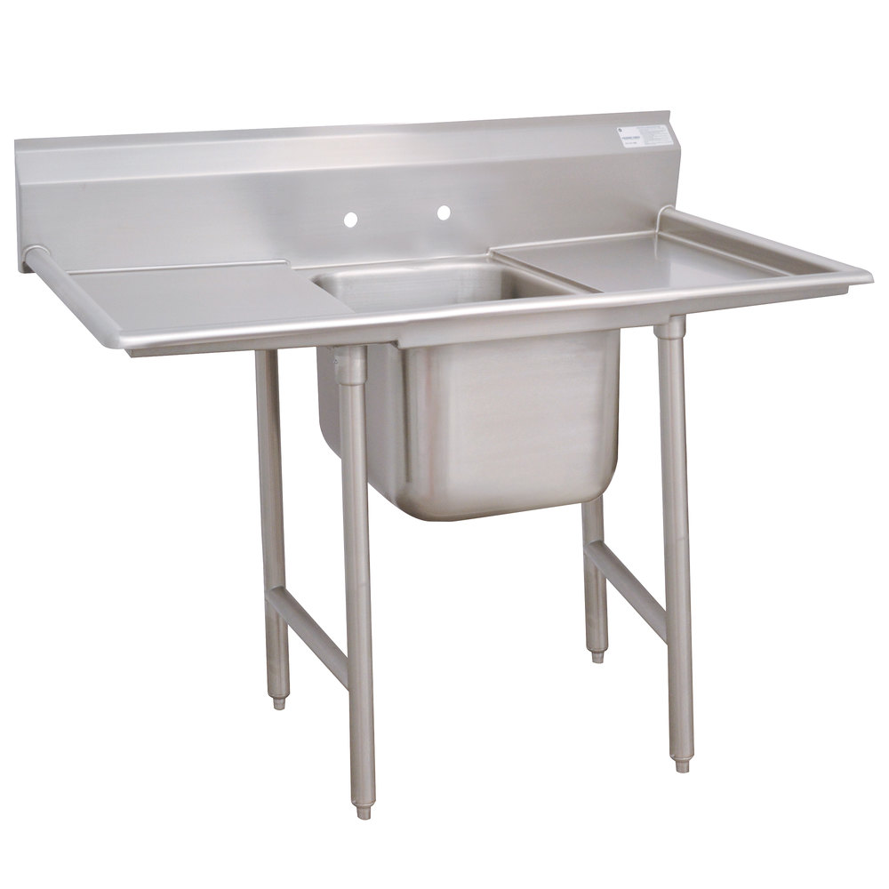 Advance Tabco 9-41-24-24RL Super Saver One Compartment Pot Sink with Two Drainboards - 74""
