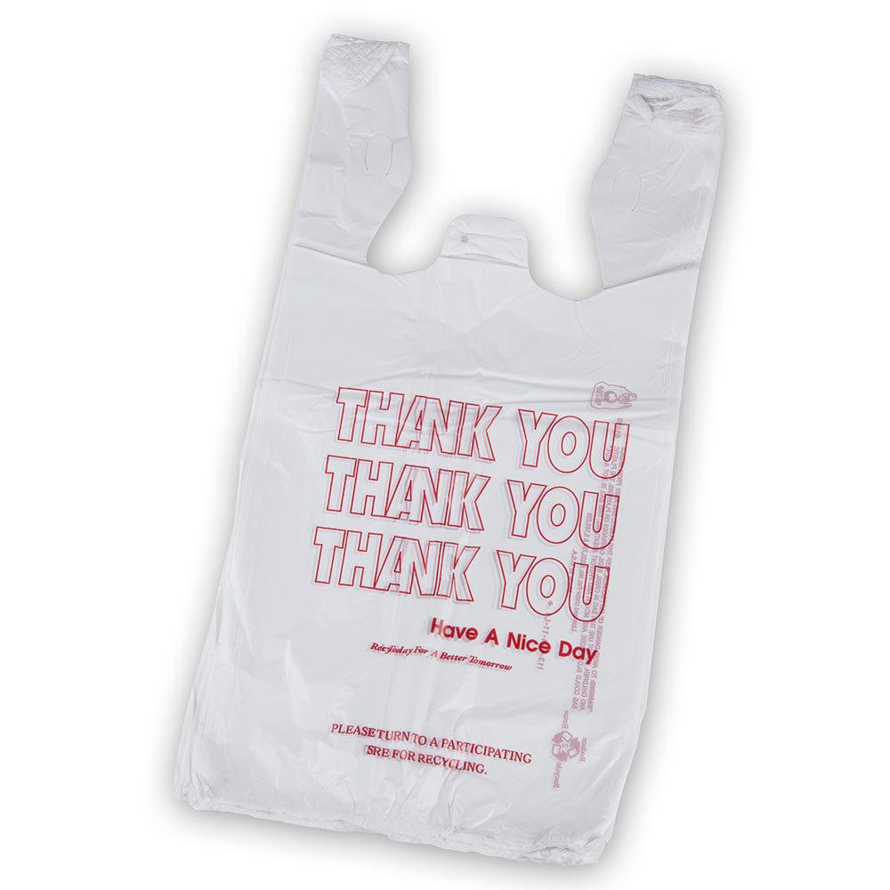 1 8 size white thank you t shirt bag 1500 case for Jumbo t shirt bags