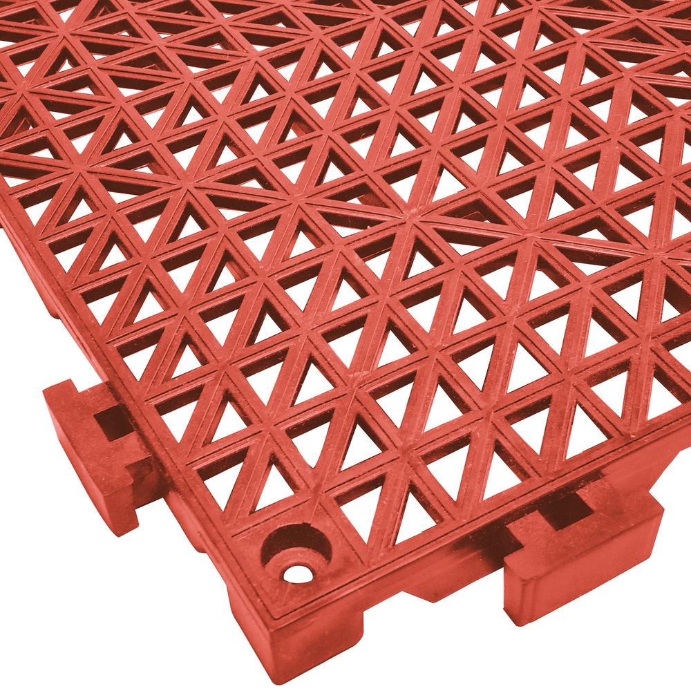Floor mats interlocking tiles - Cactus Mat 2557 Rt Poly Lok 12 X 12 Red Vinyl Interlocking Drainage Floor Tile 3 4 Thick
