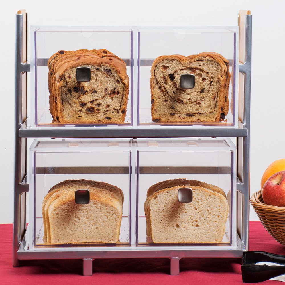"Cal-Mil 1279 Eco Modern Two Tier Bread Display Case - 14"" x 11 1/2"" x 15"""