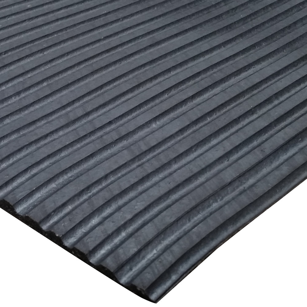 Cactus Mat 1031R-C12 Duratred 3' Wide Black Golf Spike Resistant Rubber Mat - 1/4'' Thick