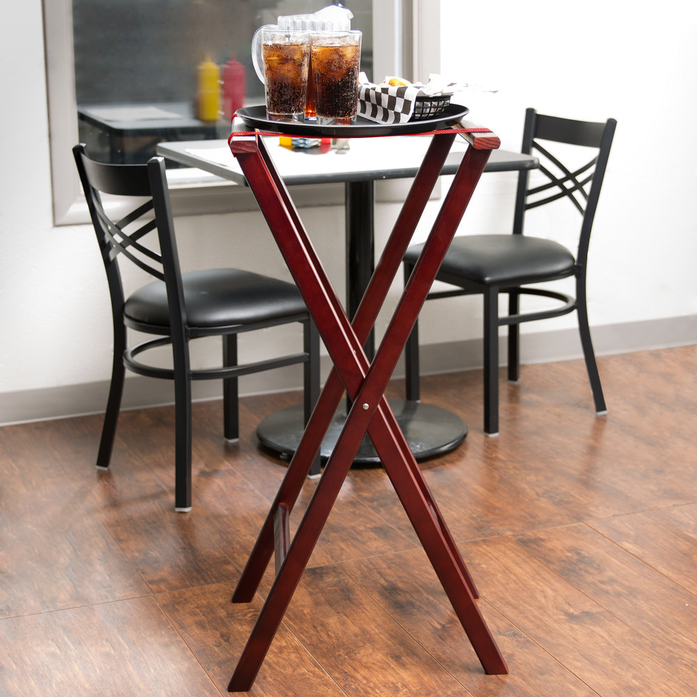 "Lancaster Table & Seating 38"" Folding Wood Tray Stand Red Brown"