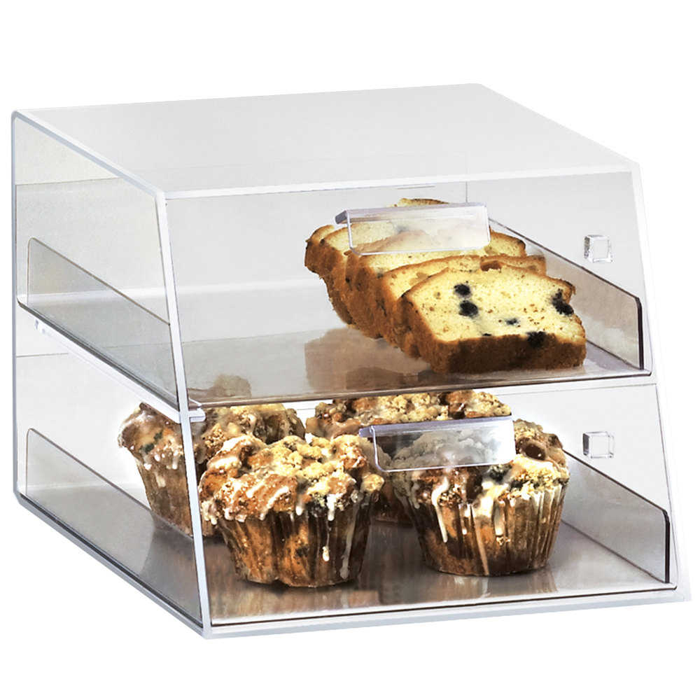 "Cal-Mil 258 Classic Two Tier Acrylic Display Case with Front Drawers - 10 1/4"" x 14"" x 18 1/2"""