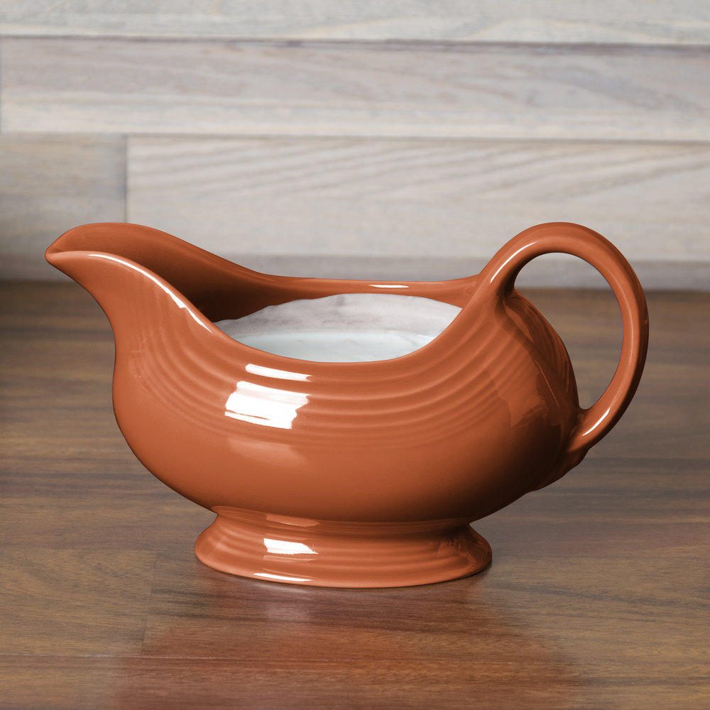 Homer Laughlin 486334 Fiesta Paprika 18.5 oz. Sauce Boat - 4 / Case