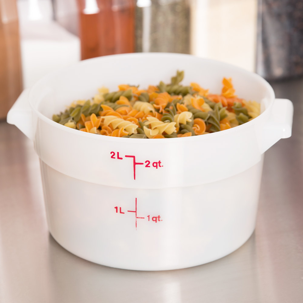Cambro RFS2148 2 Qt. Round White Food Storage Container