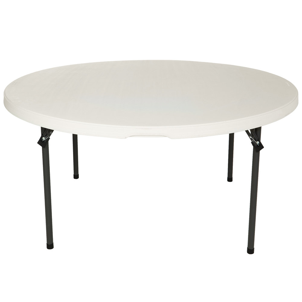 "Lifetime Round Folding Table, 60"" Plastic, Almond - 80435"
