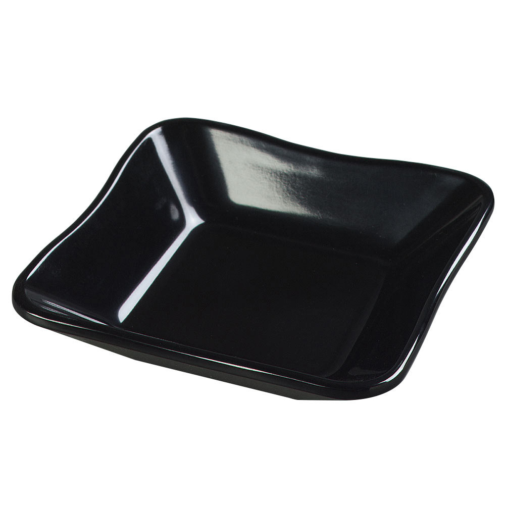 Carlisle 793403 8.5 oz. Black Scalloped Melamine Deli Crock - 48/Case