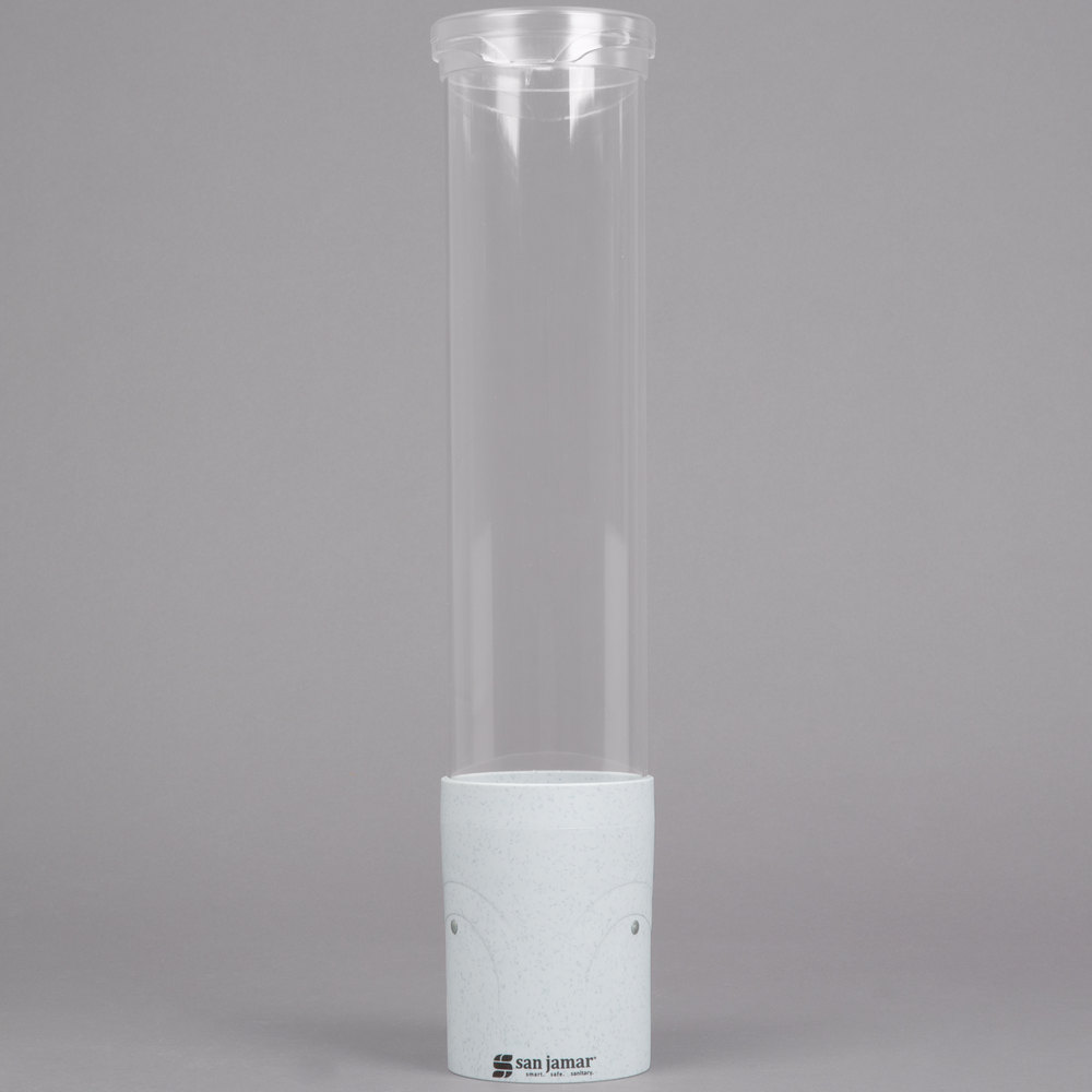 "San Jamar C4180CL Pull-Type Clear 3 - 5 oz. Flat / 3 - 4.5 oz. Cone Cup Dispenser with Throat - 16"" Long"