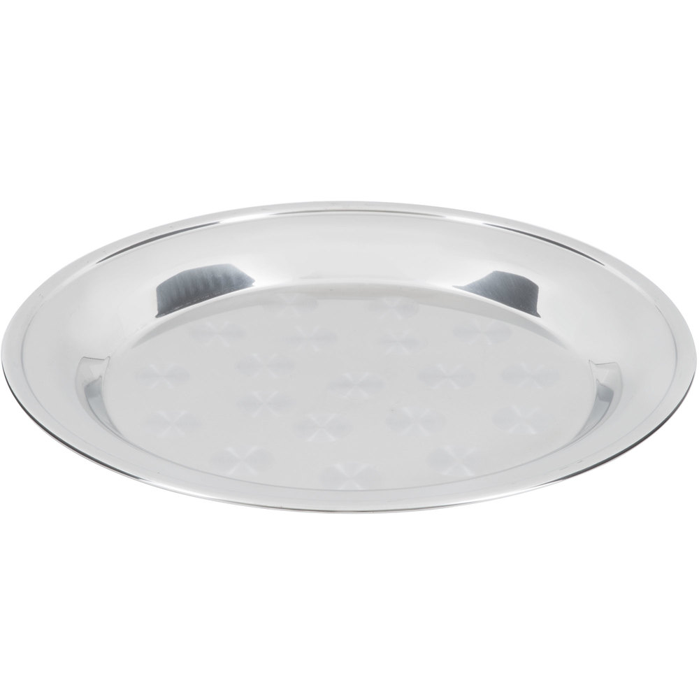 "16"" Stainless Steel Serving / Display Tray with Swirl Pattern - Wide Rim"