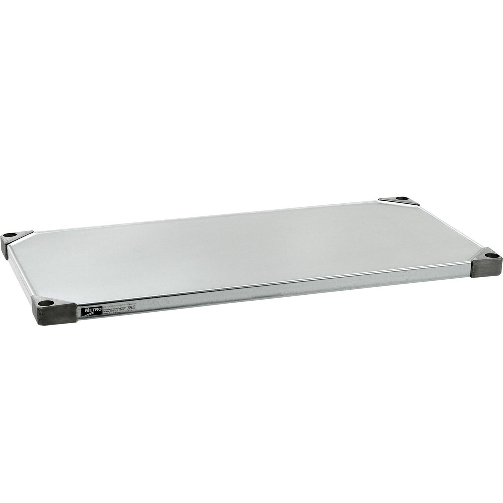 "Metro 1836FS 18"" x 36"" 18 Gauge Flat Stainless Steel Solid Shelf"