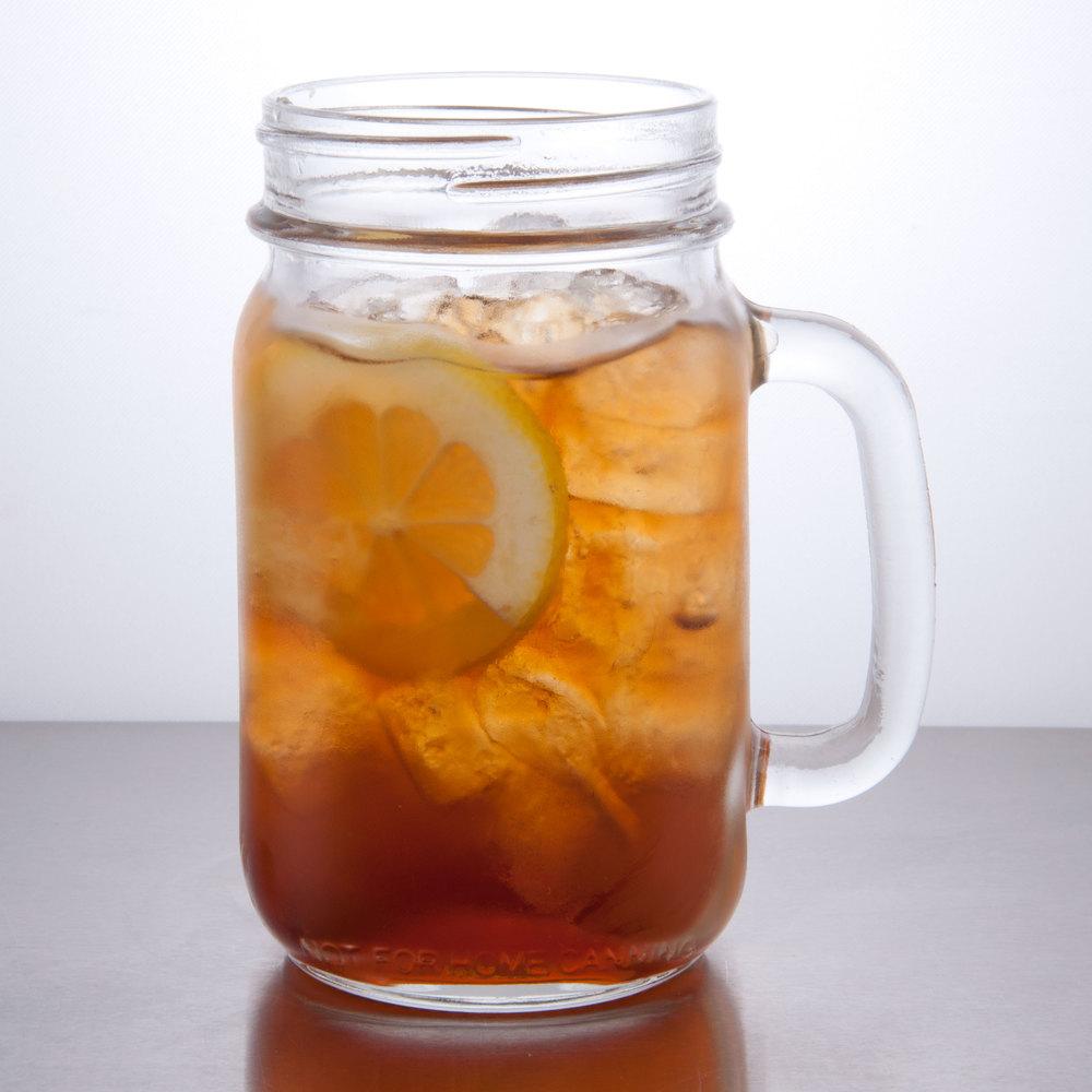 Libbey 97084 16 oz drinking mason jar with handle 12 case - Mason jar goblets ...