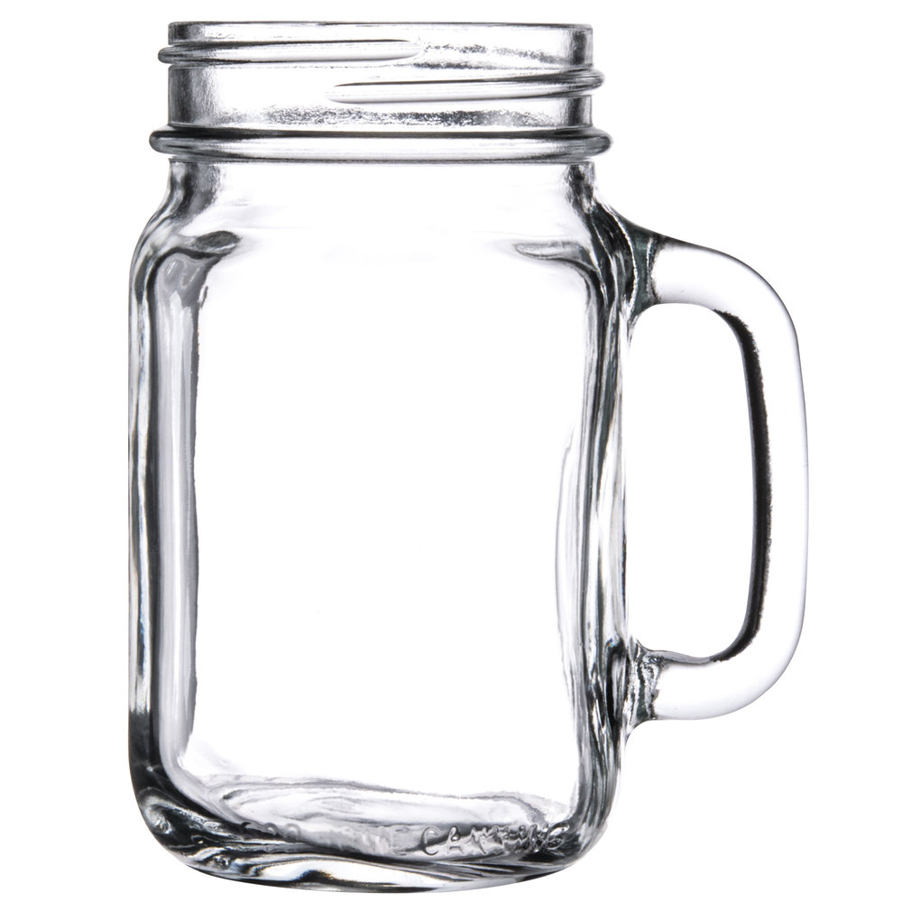 Libbey 97084 16 Oz Drinking Mason Jar With Handle 12 Case