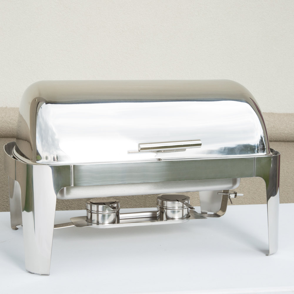 Choice Supreme 8 Qt. Full Size Roll Top Chrome Trim Chafer
