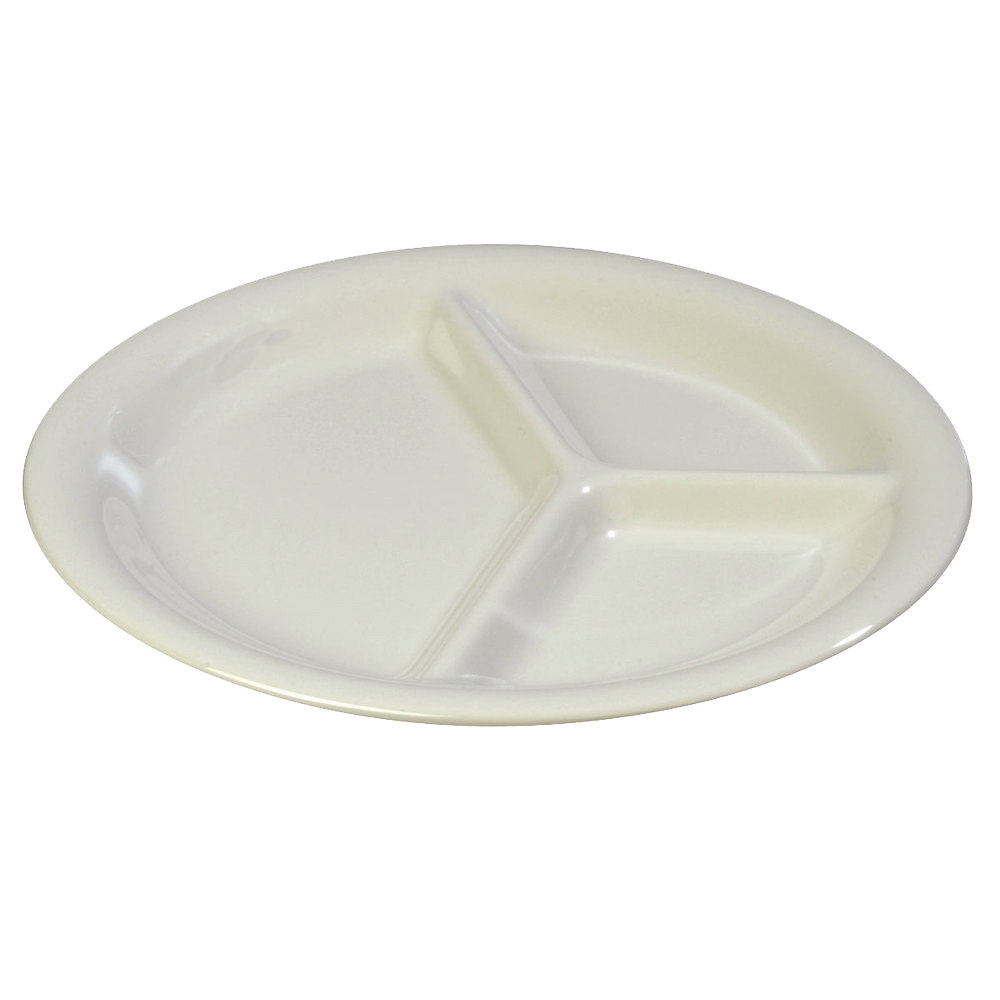 "Carlisle 3300042 Sierrus 10 1/2"" Bone 3 Compartment Narrow Rim Melamine Plate - 12/Case"