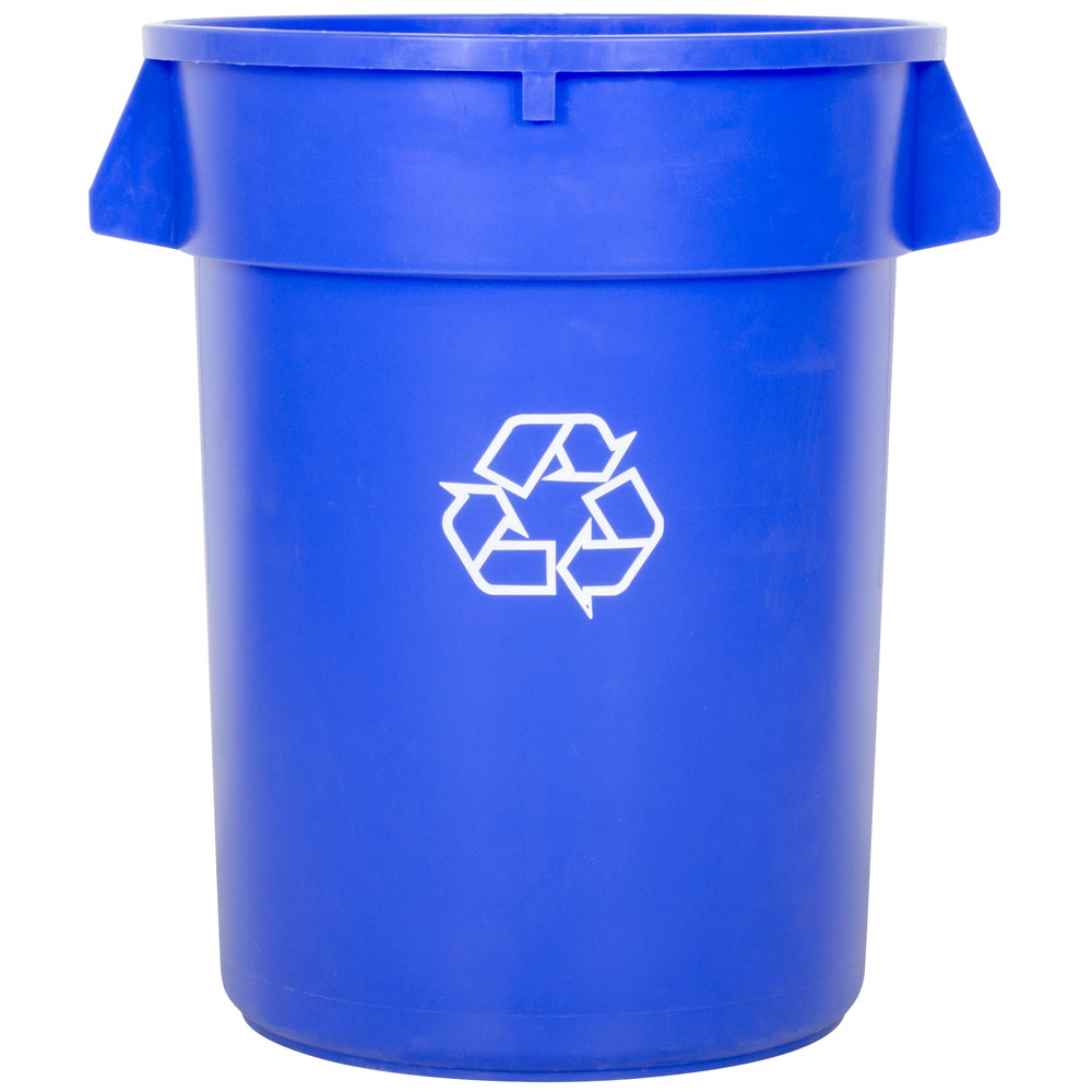 32 gallon blue recycling trash can. Black Bedroom Furniture Sets. Home Design Ideas