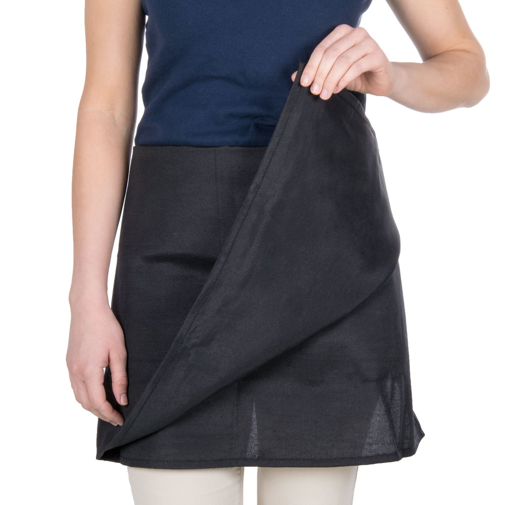 "Choice Black 4-Way Waist Apron - 34""L x 34""W"