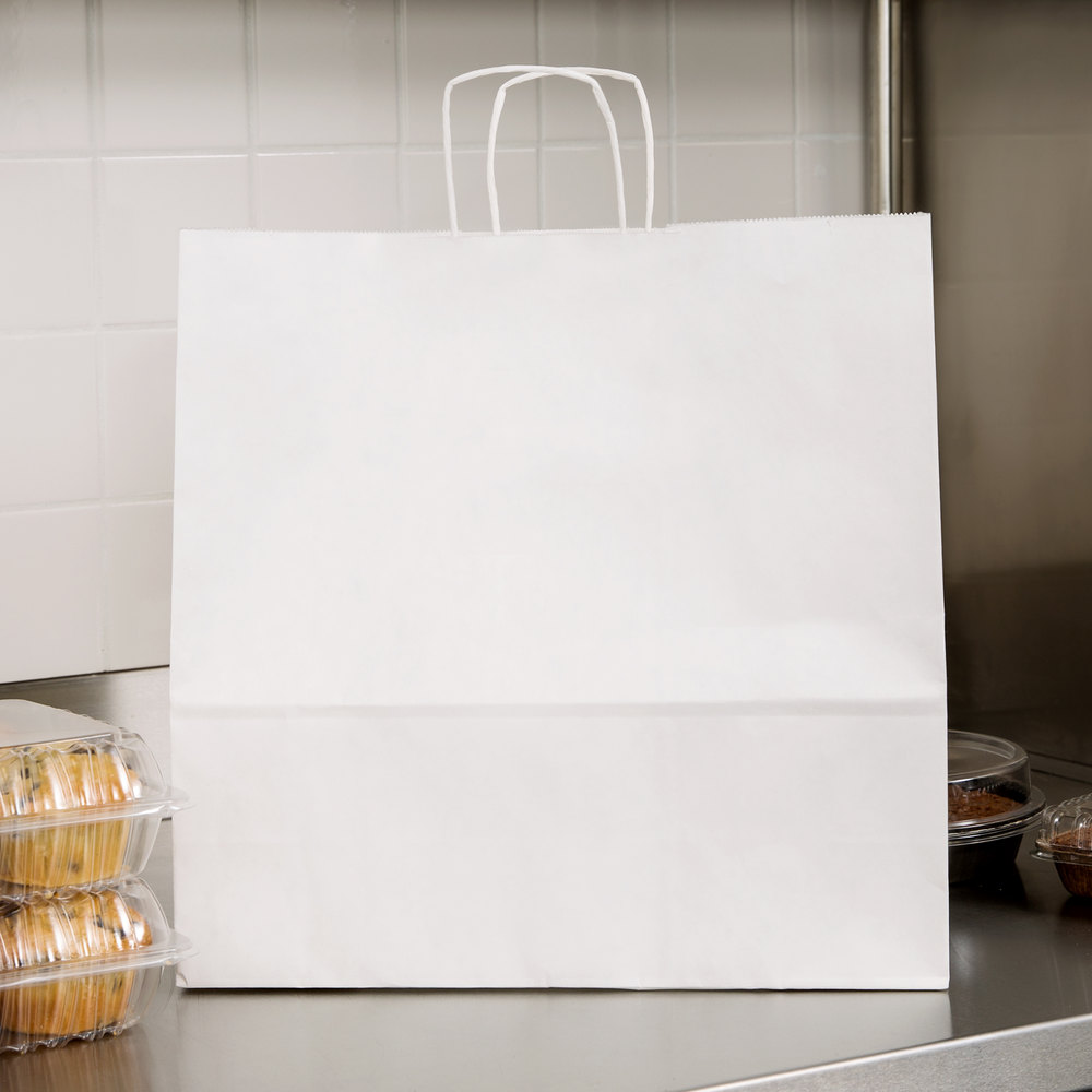 "Duro Debonair White Paper Shopping Bag with Handles 16"" x 6"" x 16"" - 200/Bundle"