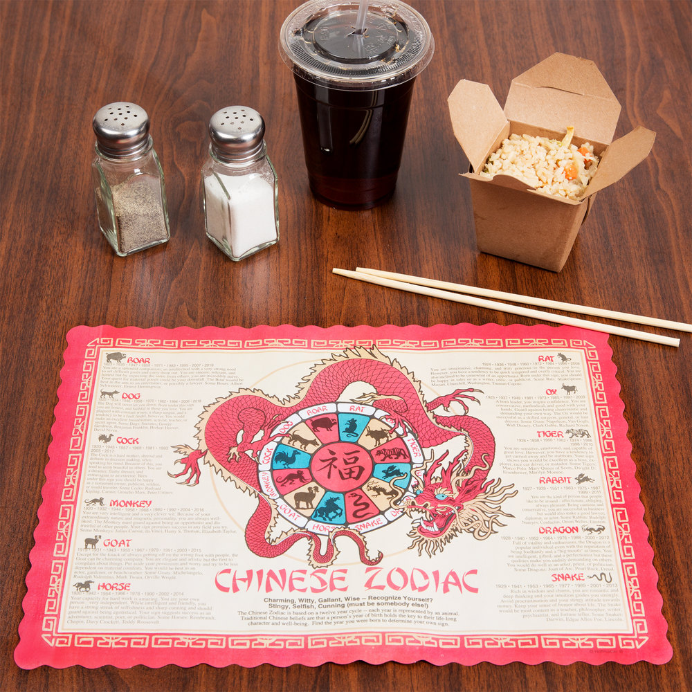 "Hoffmaster 310645 10"" x 14"" Chinese Zodiac Paper Placemat - 1000 / Case"