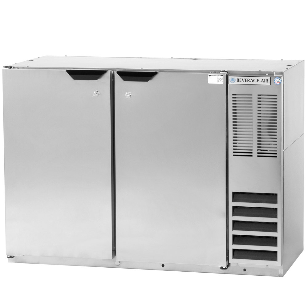 "Beverage Air BB48Y-1-S-27 48"" Stainless Steel Back Bar Refrigerator with 2 Solid Doors and Stainless Steel Top- 115V"