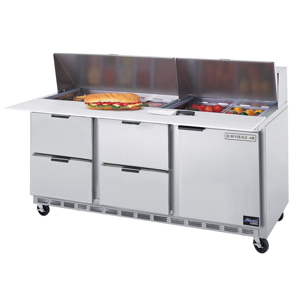 "Beverage Air SPED72-12C-4 72"" 1 Door 4 Drawer Cutting Top Refrigerated Sandwich Prep Table with 17"" Wide Cutting Board"
