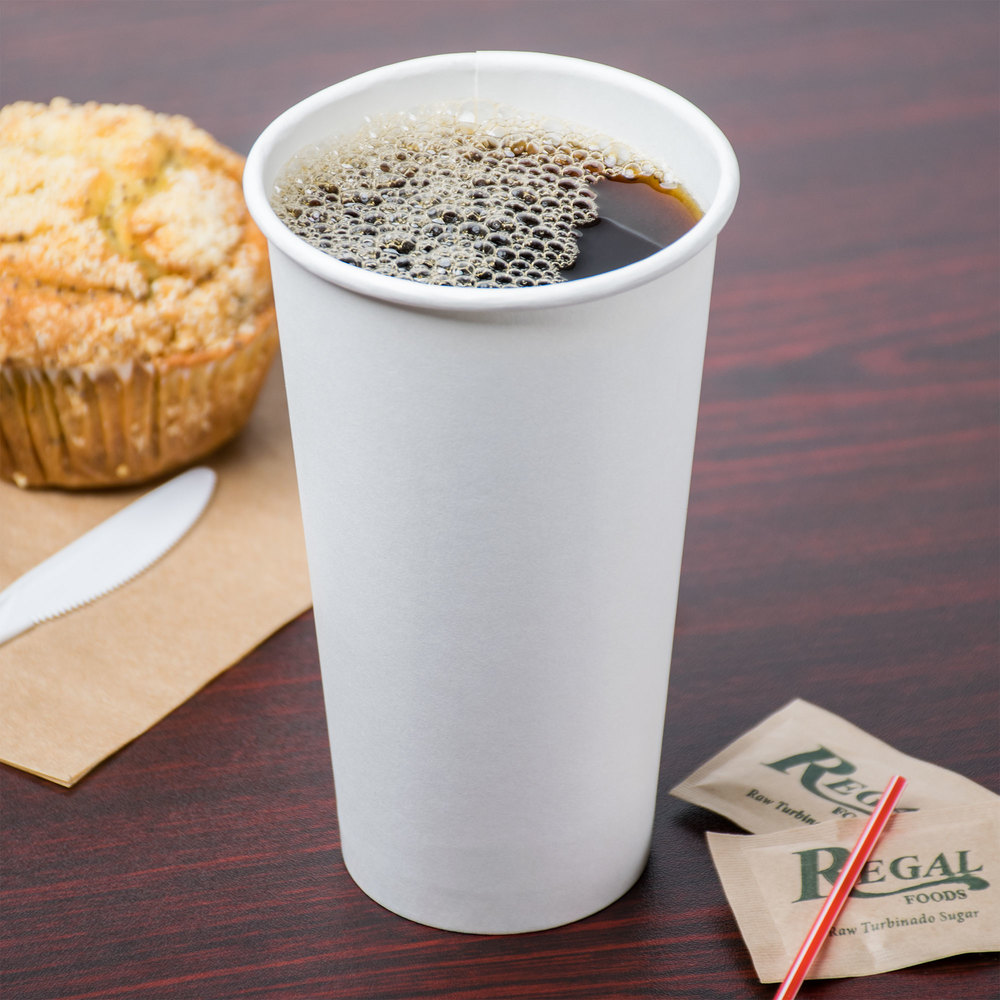 Choice 20 oz. White Poly Paper Hot Cup - 600/Case