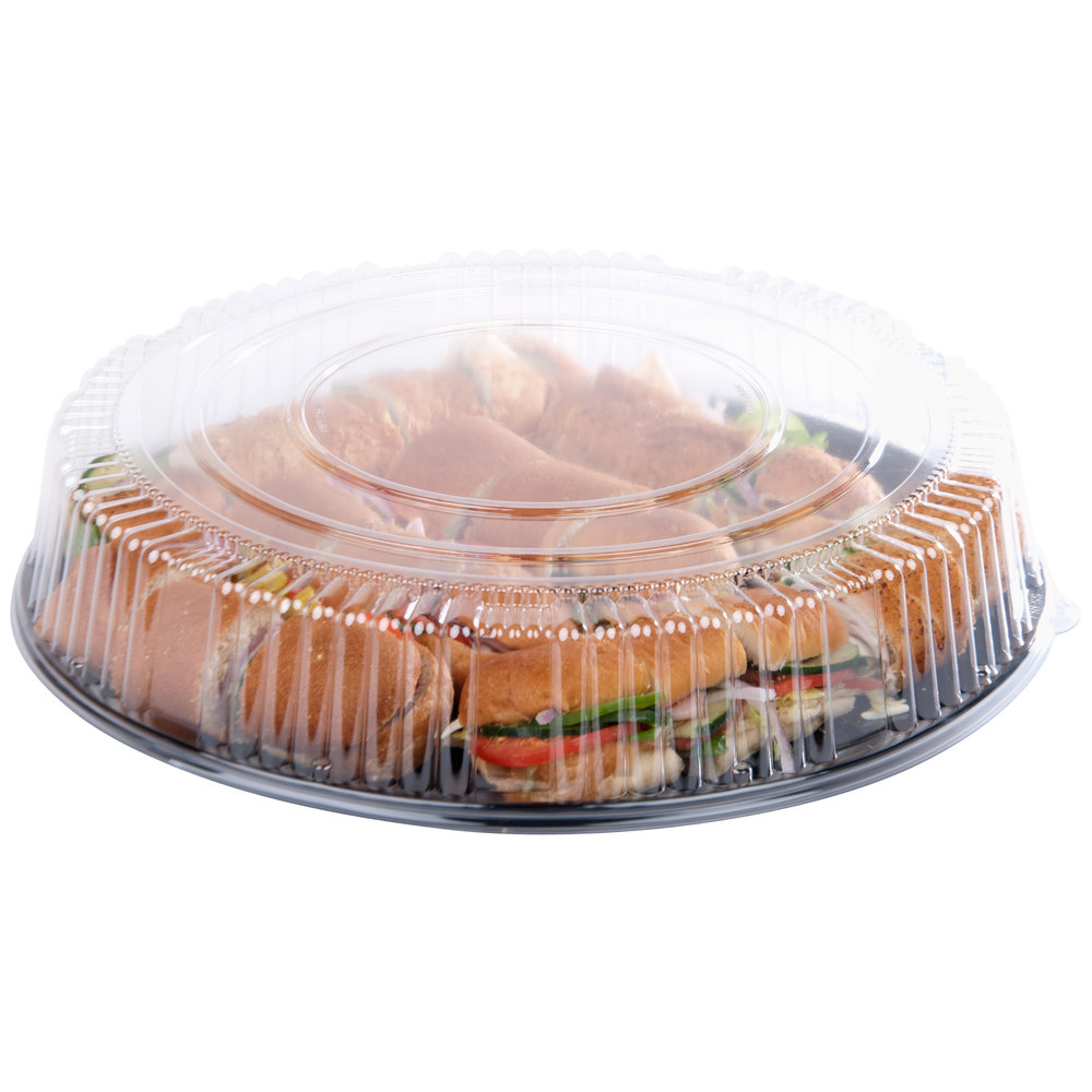 "WNA Comet A18PETDM Checkmate 18"" Clear Dome Lid for Round Catering Trays - 5/Pack"