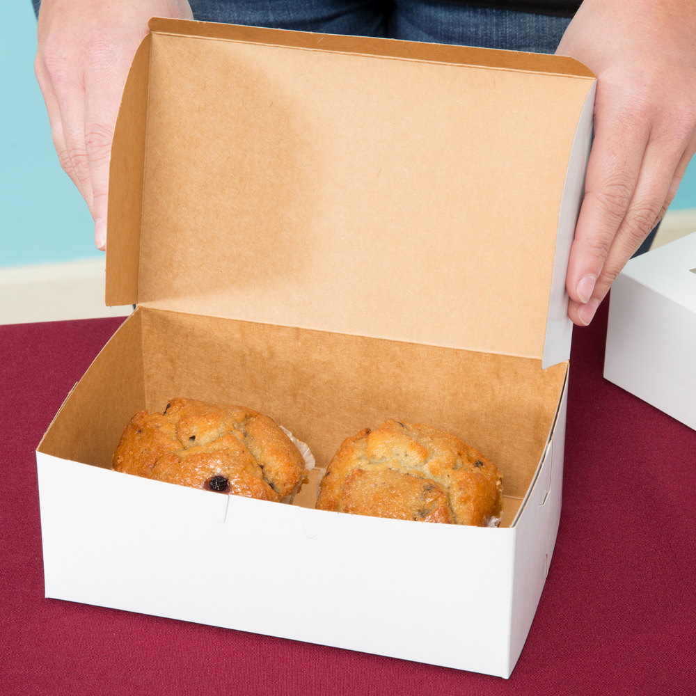 "Southern Champion 925 8"" x 5"" x 3"" White Cake / Bakery Box - 250/Bundle"
